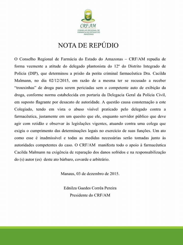 nota de repúdio CRFAM